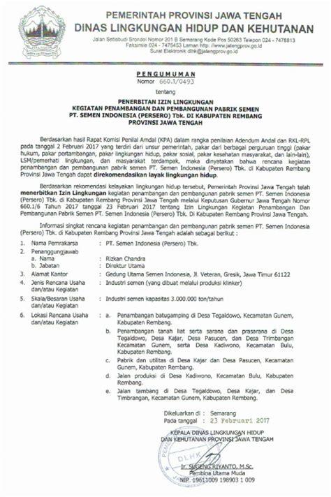 pemprov jateng terbitkan izin lingkungan pabrik di rembang