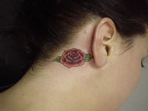 rose tattoo behind ear red rose tattoo on behind ear