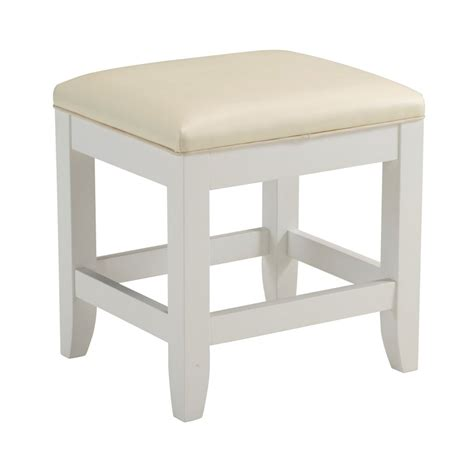 Vanity Stool For Bathroom Shop Home Styles 19 In H White Rectangular Makeup Vanity Stool At Lowes