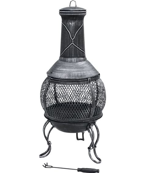 chiminea at buy steel with cast iron finish mini chiminea at argos co