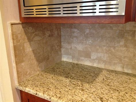 travertine subway tile backsplash installation ta