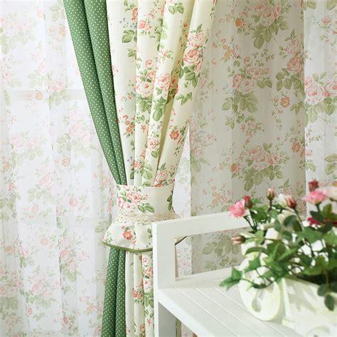 decorative blackout curtains korean style printed flower splice color decorative