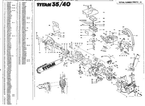 35 parts diagram mcculloch titan 35 40 chainsaw service parts list