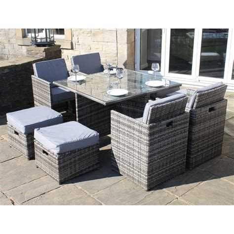 All Weather Rattan Deluxe 9 Piece Cube Set Outdoor Garden