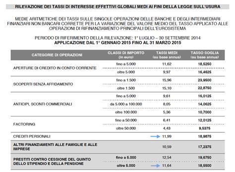 tassi medi d italia tassi medi per la cessione quinto e i prestiti