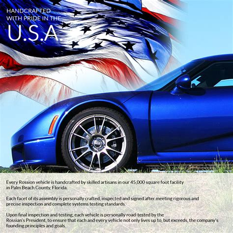 Handcrafted In America - handcrafted in the usa rossion automotive