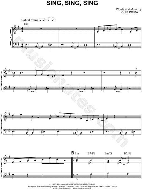 benny goodman quot sing sing sing quot sheet music piano solo