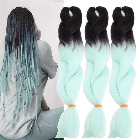 ombre kanekalon clip in hair 24 black mint green ombre dip dye kanekalon braiding