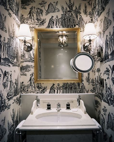black and white wallpaper for bathrooms black and white toile wallpaper transitional bathroom lonny magazine