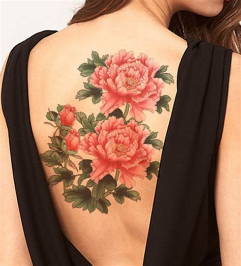 floral temporary tattoos peony flower large temporary tattoos shoulder by