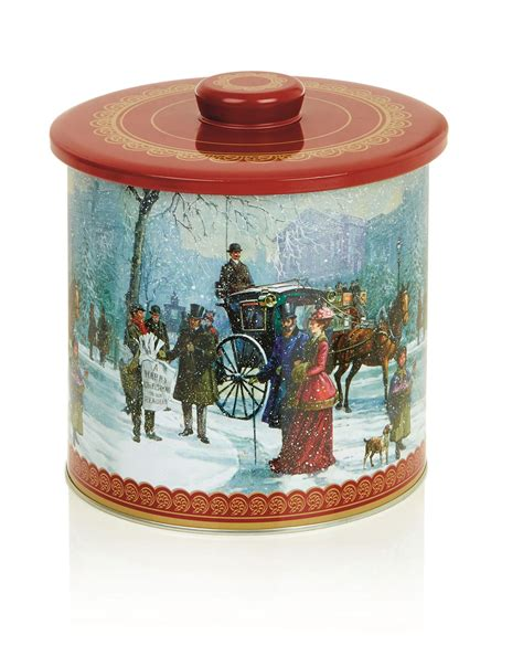round christmas biscuit barrel storage cake tin container