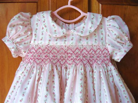 Handmade Smocked Dresses - baby smocked dress pink and white floral stripe size