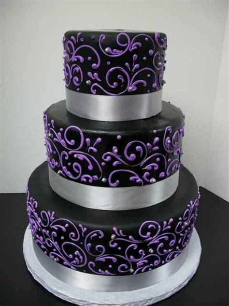 Black and Purple Wedding Cakes   Wedding and Bridal