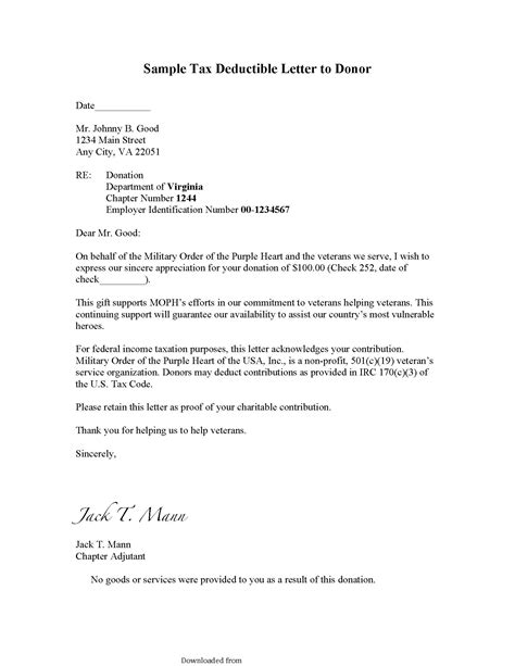donation receipt letter template format databaseorg