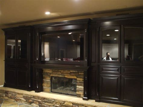 Cherry Cabinet Kitchen watch the big game in style with a custom home theater cabinet