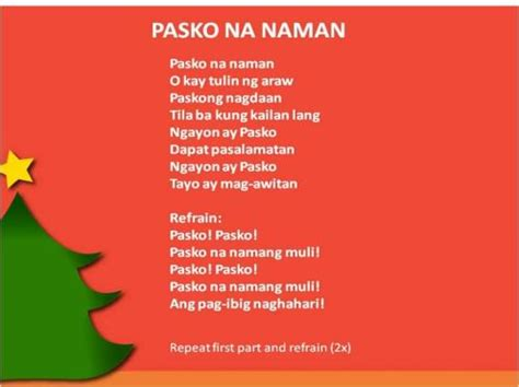 song lyrics tagalog caroling in the philippines