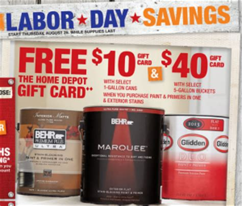 home depot paint sle cards home depot 10 gift card with purchase of paint my