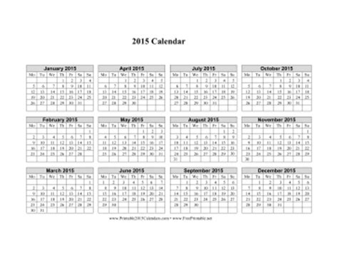 printable monthly calendar 2015 starts on monday printable 2015 calendar on one page horizontal week