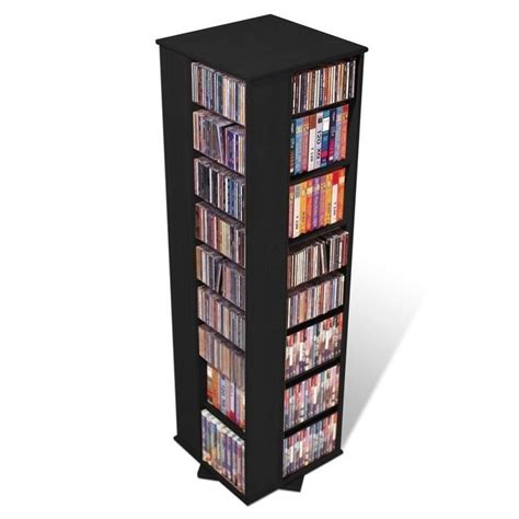 prepac large 4 sided cd dvd spinning media storage tower black ebay