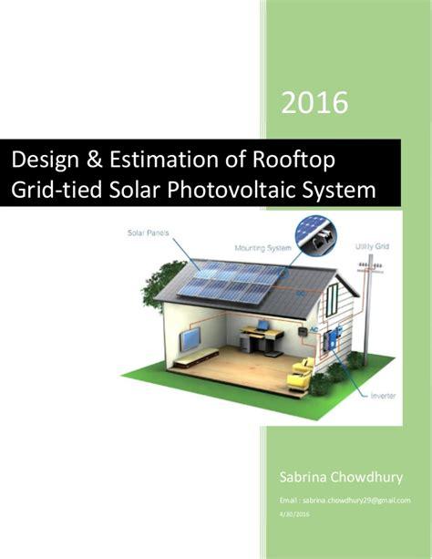 rooftop solar system design design estimation of rooftop grid solar pv system