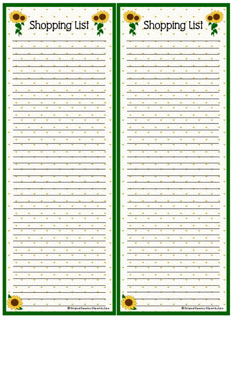 free printable grocery list paper shopping list sunflowers paper printables pinterest
