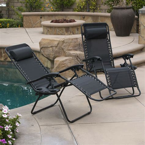 pc  gravity chairs lounge patio folding recliner outdoor black wcup holder ebay