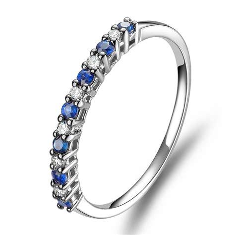 affordable diamond  sapphire wedding band   white