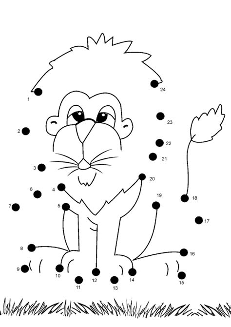 free printable dot to dot easy free online printable kids games lion dot to dot