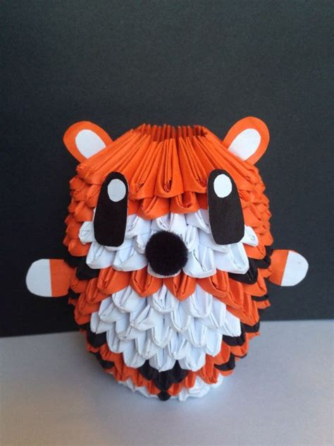 3d Origami Tiger - 3d origami tiger this one is a chubbier than the