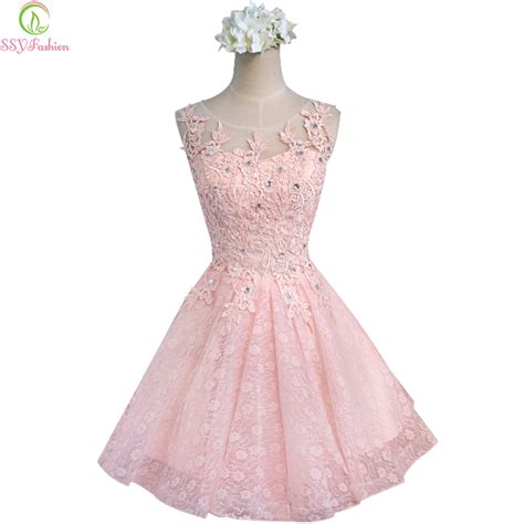 Pink Sweet Lace Dress 17835 sweet cocktail dresses 2017 new ssyfashion married