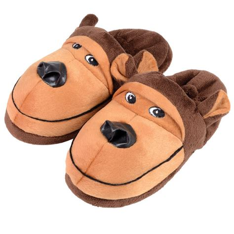 wearing slippers novelty gift character animal fleece slippers