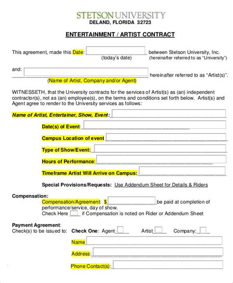 12 Artist Contract Templates Free Sle Exle Format Download Free Premium Templates Entertainment Manager Contract Template