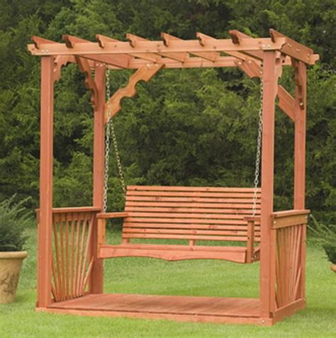 free standing bench swing new outdoor 7 wooden cedar wood pergola yard garden porch