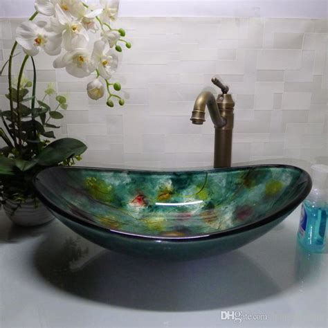 boat shaped basin best bathroom tempered glass sink handcraft counter top