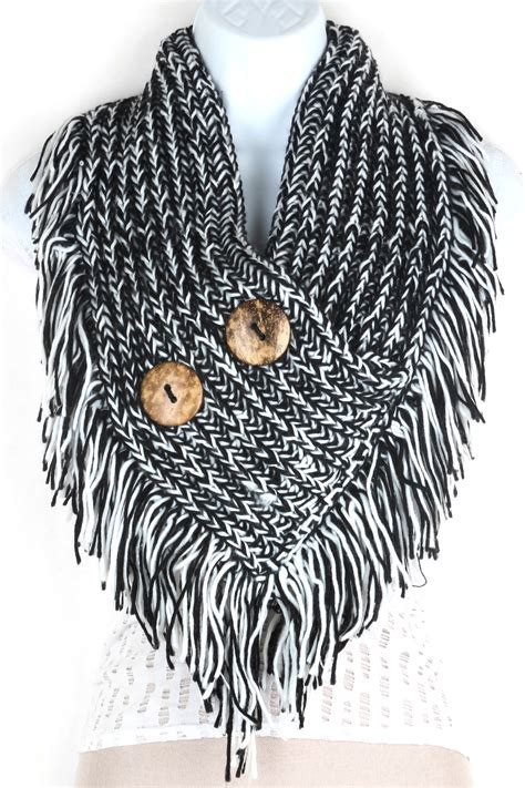 how to make fringe on a knitted scarf knitted button infinity fringe scarf scarves
