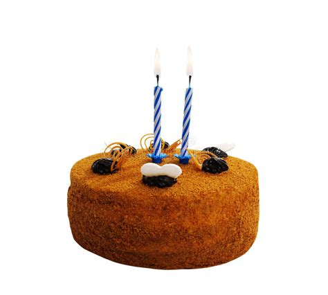 torta con candele torta con due candele fotografia stock immagine di