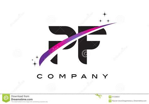 Pf P pf p f black letter logo design with purple magenta swoosh