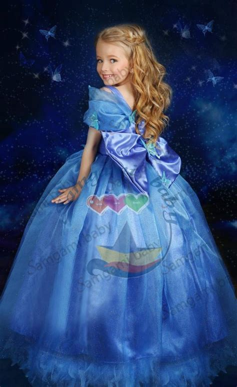 Longdress Cinderella Blue Butlerfly cinderella blue butterfly dress fancy gown birthday free shipping china trading