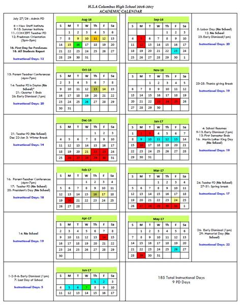 Columbus Schools Calendar Academic Calendar Horizon Science Academy Columbus High
