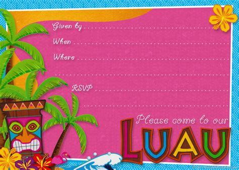 Luau Invitation Template Free planning center free printable hawaiian luau