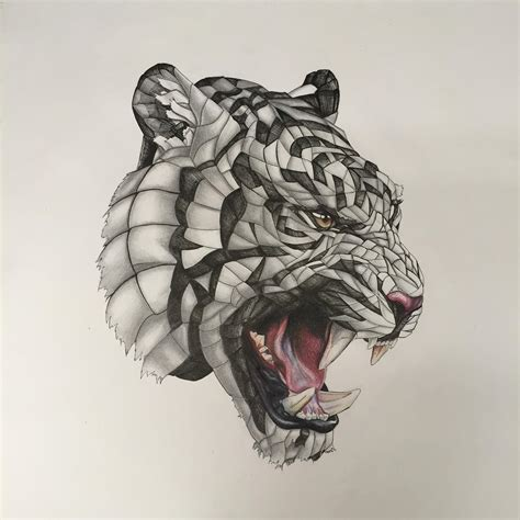 Geometric Tattoo Thailand | wrapped tiger pencil pen colour pencil 20x20 in