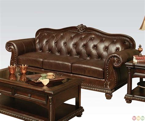leather sofa with buttons anondale brown button tuft leather upholstery sofa set
