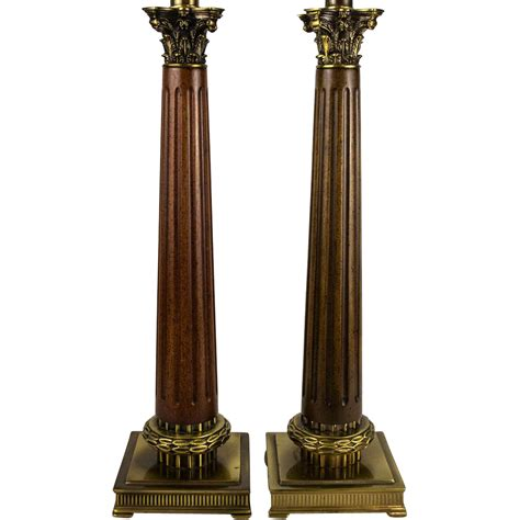 column table l pair 70 s neoclassical fluted wood column table ls with cast metal from table m on ruby