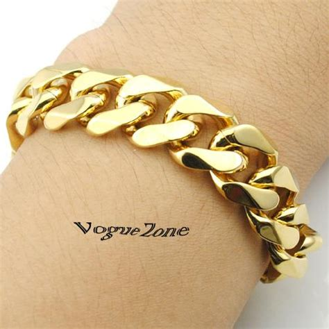 Gelang Fashion High Quality 2019 14mm width fashion 316l stainless steel gold