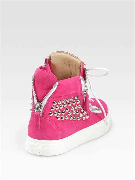 giuseppe zanotti studded suede wedge sneakers in pink lyst