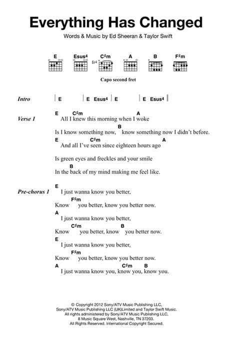 taylor swift everything has changed piano chords everything has changed feat ed sheeran sheet music by