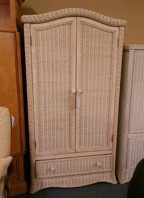 Wicker Armoire Wardrobe by Wicker Wardrobe Delmarva Furniture Consignment