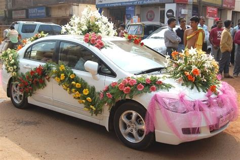 wedding car decoration  flower  petals