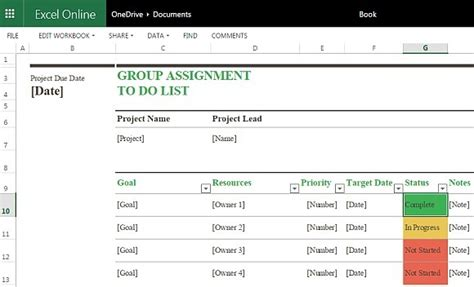 Group Assignment To Do List Template For Excel Online Team To Do List Template Excel