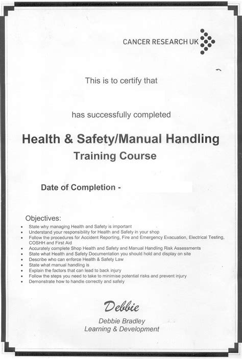 health and safety certificate template cancer research pandora s box 3
